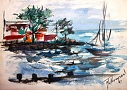 South Shore Dock 1967 Print by Mary Spyridon Thompson