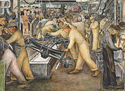 Detroit Painting Posters - South Wall of a Mural depicting Detroit Industry Poster by Diego Rivera