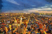 New York State Paintings - South-west view from Empire State Building by George Atsametakis