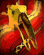 South Western Style Art With A Canadian Moose Skull  Print by John Malone