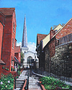Historical Buildings Painting Posters - Southampton Blue Anchor Lane Poster by Martin Davey
