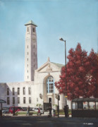 Red Buildings Prints - Southampton Civic Center public building Print by Martin Davey