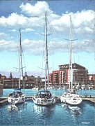 Reflections In Water Painting Posters - Southampton Ocean Village marina Poster by Martin Davey