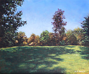 Autumn Landscape Paintings - Southampton Palmerston Park Autumn sun by Martin Davey
