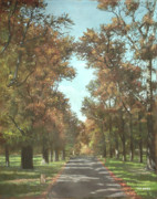 Autumn Trees Painting Posters - Southampton Palmerston park Poster by Martin Davey