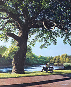 Man On Bench Prints - Southampton Riverside park oak tree with cyclist Print by Martin Davey