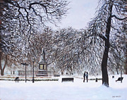 Park Scene Paintings - Southampton Watts Park in the Snow by Martin Davey