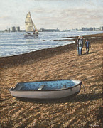 Boat On Beach Paintings - Southampton Weston Shore by Martin Davey