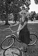 Sun Hat Posters - Southern Belle  monochrome Poster by Steve Harrington