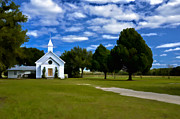 Landscape Posters Framed Prints - Southern Country Church Framed Print by Claire Turner