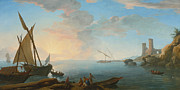 Famous Artists - Southern Mediterranean Seascape with Boats and Figures at Sunset by Adrien Manglard
