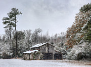 Wooden Barns Posters - Southern Snow Poster by JC Findley