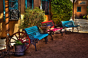 Adobe Buildings Prints - Southwest Benches Print by David Patterson