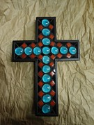 Cross Glass Art - Southwest Cross by Fabiola Rodriguez