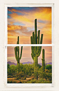 Picture Window Frame Photos Art - Southwest Desert Sunset White Rustic Distressed Window Art by James Bo Insogna