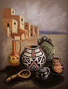 Pottery Pastels Framed Prints - Southwest Indian Pottery Framed Print by Richard Nervig