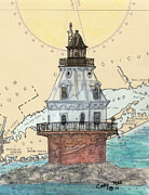 Ledge Painting Posters - Southwest Ledge Lighthouse CT Nautical Chart Map Art Poster by Cathy Peek