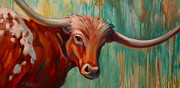 Contemporary Western Posters - Southwest Longhorn Poster by Theresa Paden