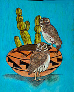 Ink Pyrography Framed Prints - Southwest Owls Framed Print by Mike Holder