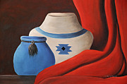 Red Drape Paintings - Southwest Pottery by Kenny Francis