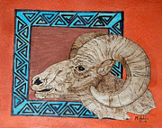 Southwest Pyrography Posters - Southwest Ram Poster by Mike Holder
