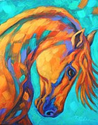Colorful Horse Paintings - Southwest Sun Dancer by Theresa Paden