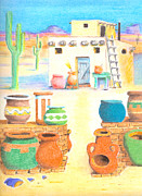 Pottery Pastels Framed Prints - Southwestern Framed Print by David Gallagher