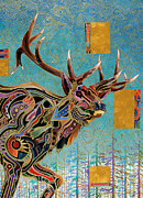 Gold Leaf Paintings - Southwestern Elk by Bob Coonts