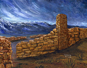 Southwest Paintings - Southwestern Night Landscape Rock Ruins by Lenora  De Lude
