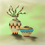 Clay Drawings - Southwestern Pottery IV by Deborah Ross