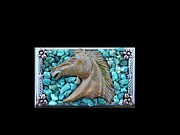 Thoroughbred Mixed Media - Southwestern Turquoise and Mustang Horse Mosaic Business Card Case by Katherine Sutcliffe