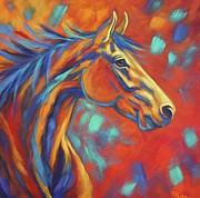 Colorful Horse Paintings - Southwestern Wind by Theresa Paden