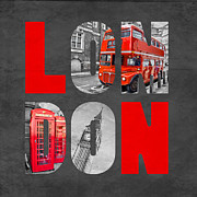 Double Decker Posters - Souvenir of London Poster by Delphimages Photo Creations