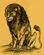 Lion Illustrations Framed Prints - Sovereignty Framed Print by Peter Melonas