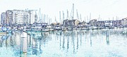 Quay Wall Posters - Soveriegn Harbor in pencil Poster by Sharon Lisa Clarke