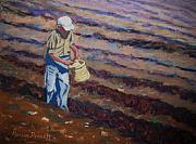 Basket Pastels Prints - Sowing the Seeds Print by Marion Derrett