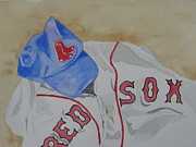 Baseball Painting Metal Prints - Sox Metal Print by Don Hurley