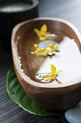 Wooden Bowl Posters - Spa setting with flower Poster by Mythja  Photography