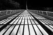 Jamie Pham - Space Bridge - The unique Sundial Bridge in Redding California in black and white.