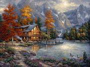 Mountain Cabin Painting Framed Prints - Space for Reflection Framed Print by Chuck Pinson