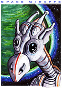 Outer Space Drawings Framed Prints - Space Giraffe Framed Print by Olaf Del Gaizo