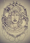 Outer Space Drawings Framed Prints - Space goddess Framed Print by Jon Mcclanahan
