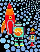 Spaceship Painting Posters - Space Landing Poster by Lynnda Rakos