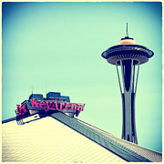 Space Needle Framed Prints - Space Needle and Key Arena Framed Print by Tanya Harrison
