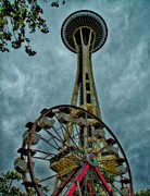 High Tower Mixed Media Framed Prints - Space Needle Framed Print by Todd and candice Dailey