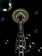 Neurotic Images Photography Prints - Space Needle with Bubbles 1 Print by Chalet Roome-Rigdon