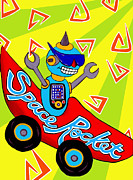 Spaceship Painting Posters - Space Rocket Racer Poster by Lynnda Rakos