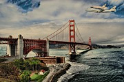 Office Space Prints - Space Shuttle Endeavour Over Golden Gate Bridge Print by Movie Poster Prints