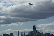 Space Shuttle Enterprise Posters - Space Shuttle Enterprise flys over NYC Poster by Steven Spak