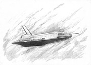 Enterprise Drawings Metal Prints - Space Shuttle Enterprise Metal Print by Michael Penny